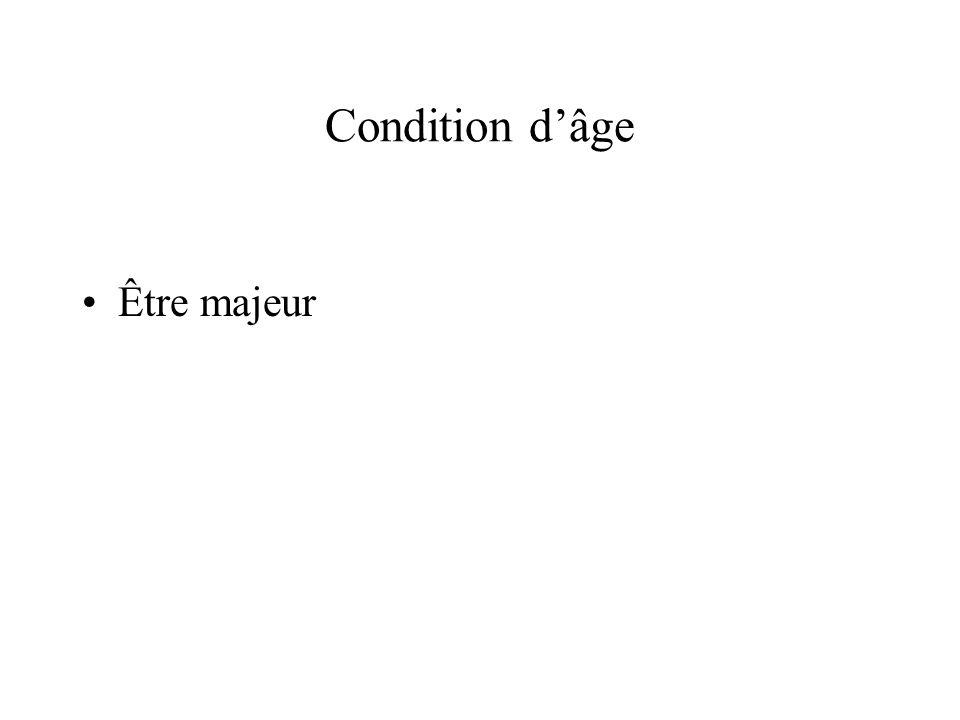 Condition d'âge Être majeur