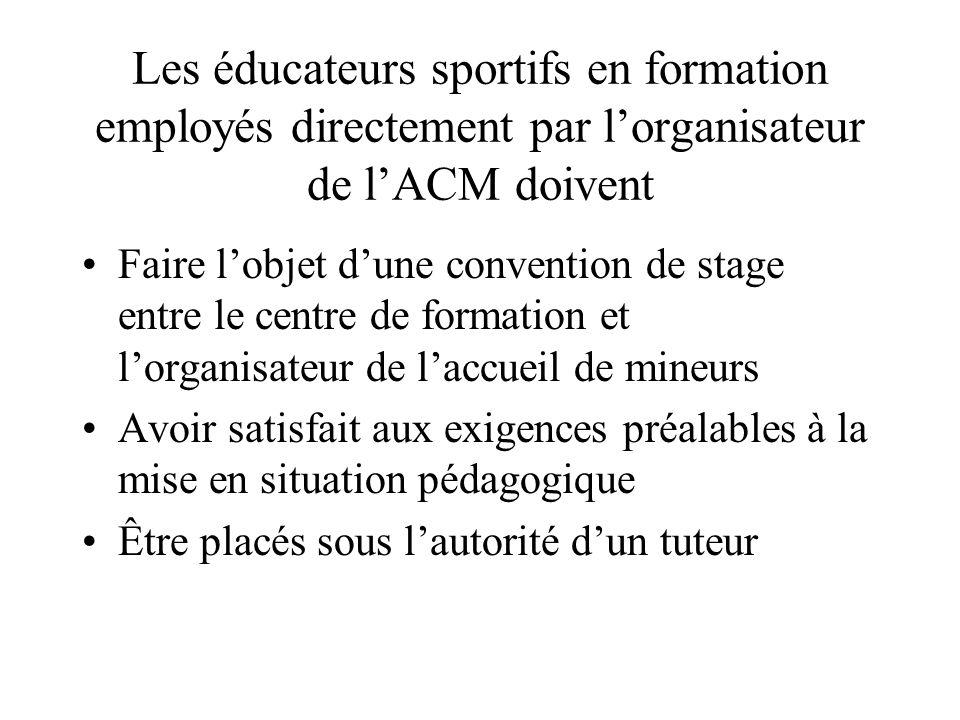 Les éducateurs sportifs en formation employés directement par l'organisateur de l'ACM doivent Faire l'objet d'une convention de stage entre le centre