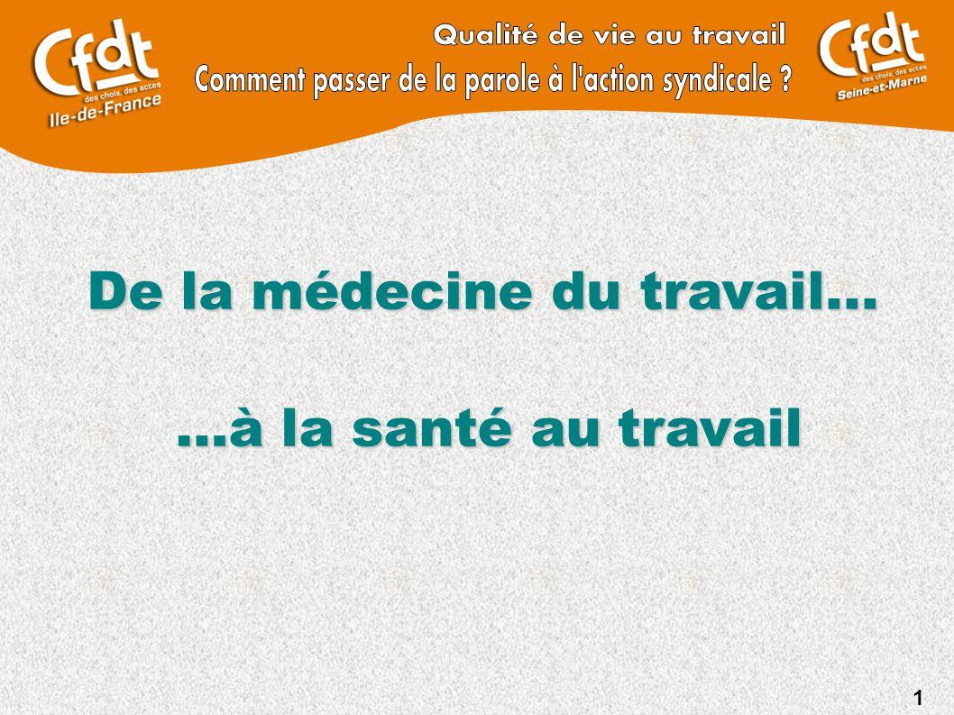 1 De la médecine du travail... …à la santé autravail …à la santé au travail