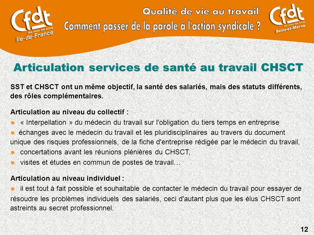12 Articulation services de santé au travail CHSCT SST et CHSCT ont un même objectif, la santé des salariés, mais des statuts différents, des rôles co