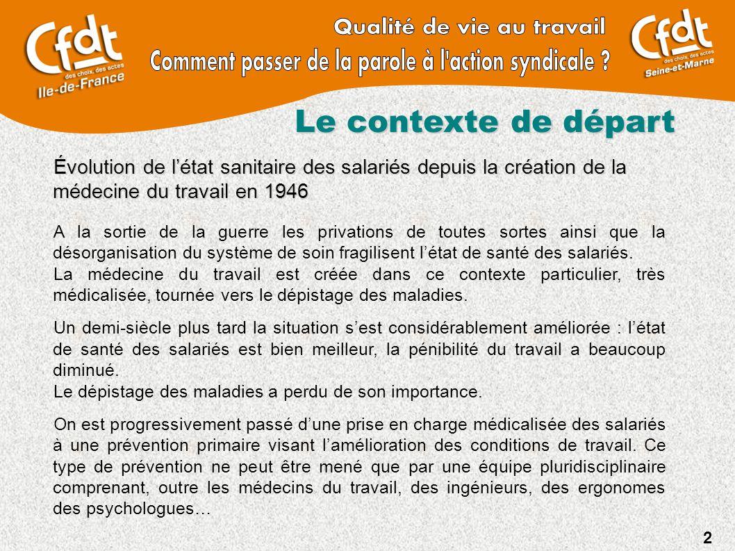 2 Le contexte de départ Évolution de l'état sanitaire des salariés depuis la création de la médecine du travail en 1946 A la sortie de la guerre les p
