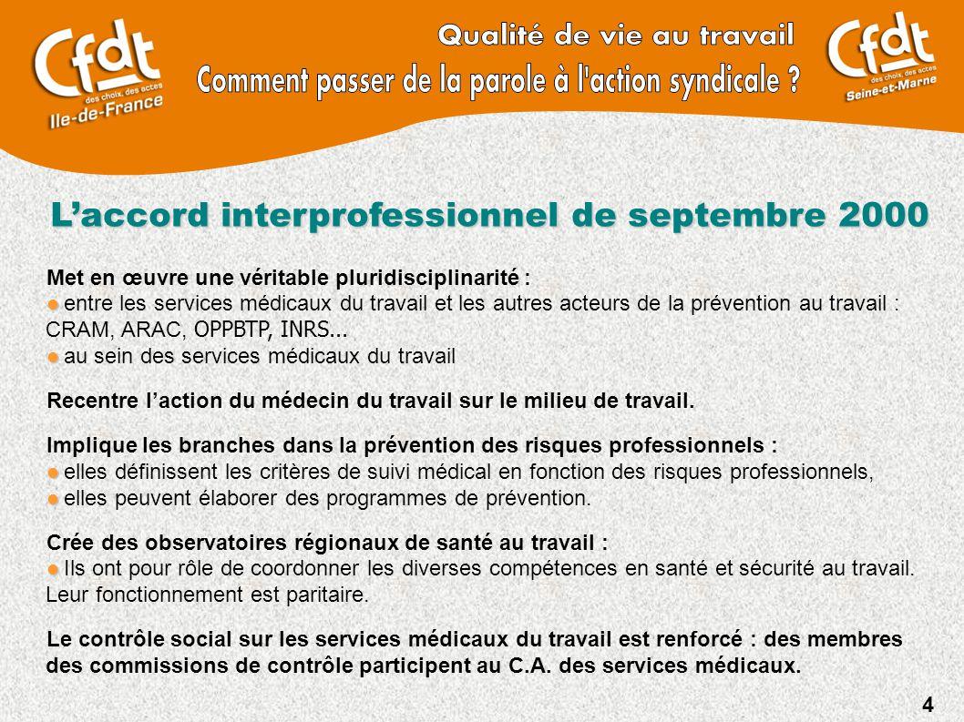 4 L'accord interprofessionnel de septembre 2000 Met en œuvre une véritable pluridisciplinarité : entre les services médicaux du travail et les autres