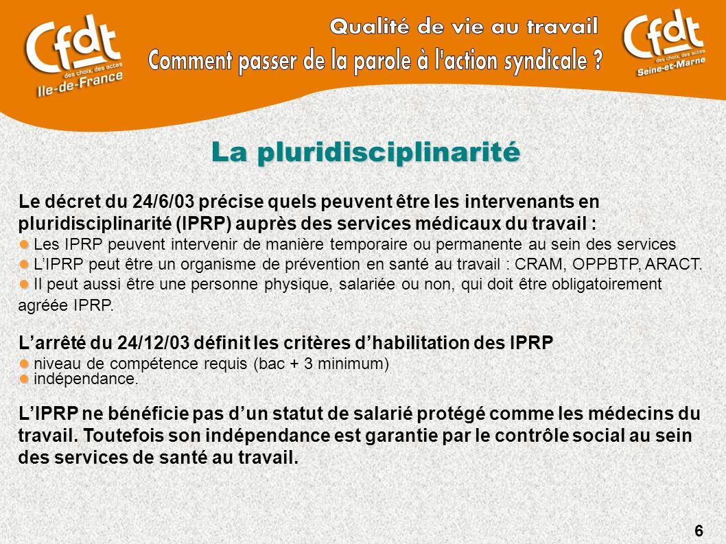 6 La pluridisciplinarité Le décret du 24/6/03 précise quels peuvent être les intervenants en pluridisciplinarité (IPRP) auprès des services médicaux d