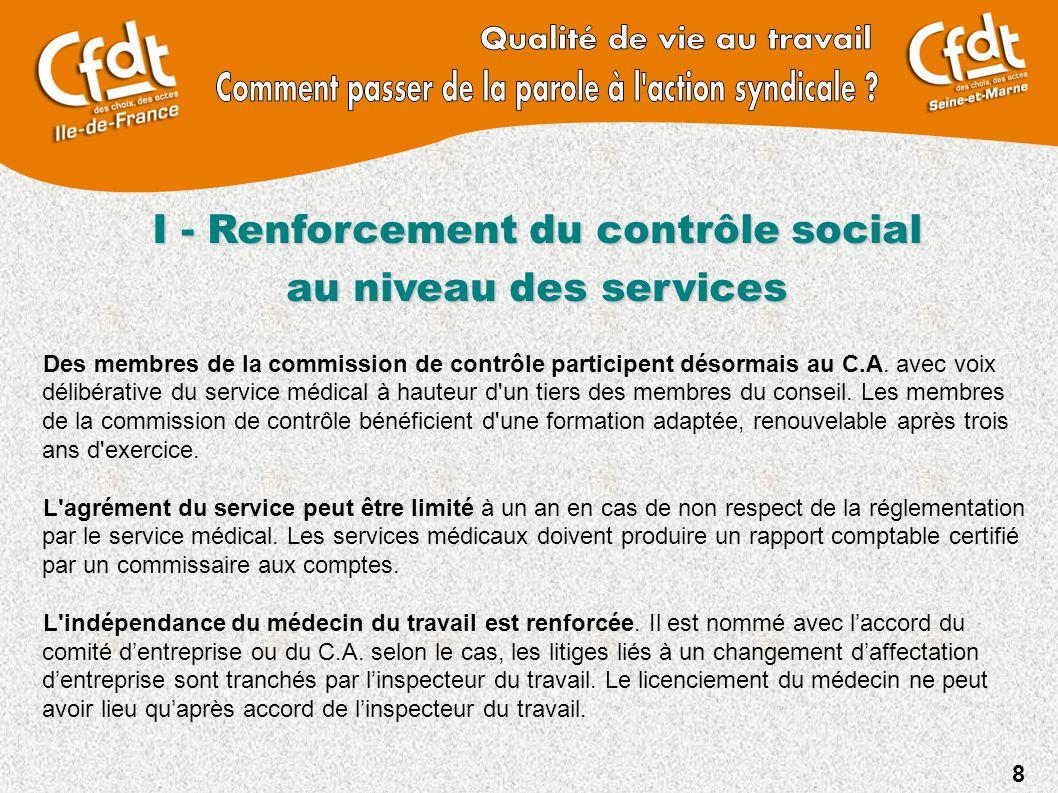 8 I - Renforcement du contrôle social au niveau des services Des membres de la commission de contrôle participent désormais au C.A. avec voix délibéra