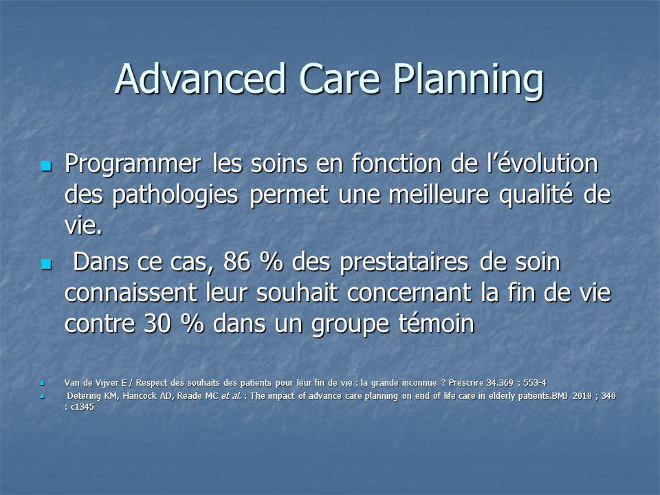Advanced Care Planning Programmer les soins en fonction de l'évolution des pathologies permet une meilleure qualité de vie. Programmer les soins en fo
