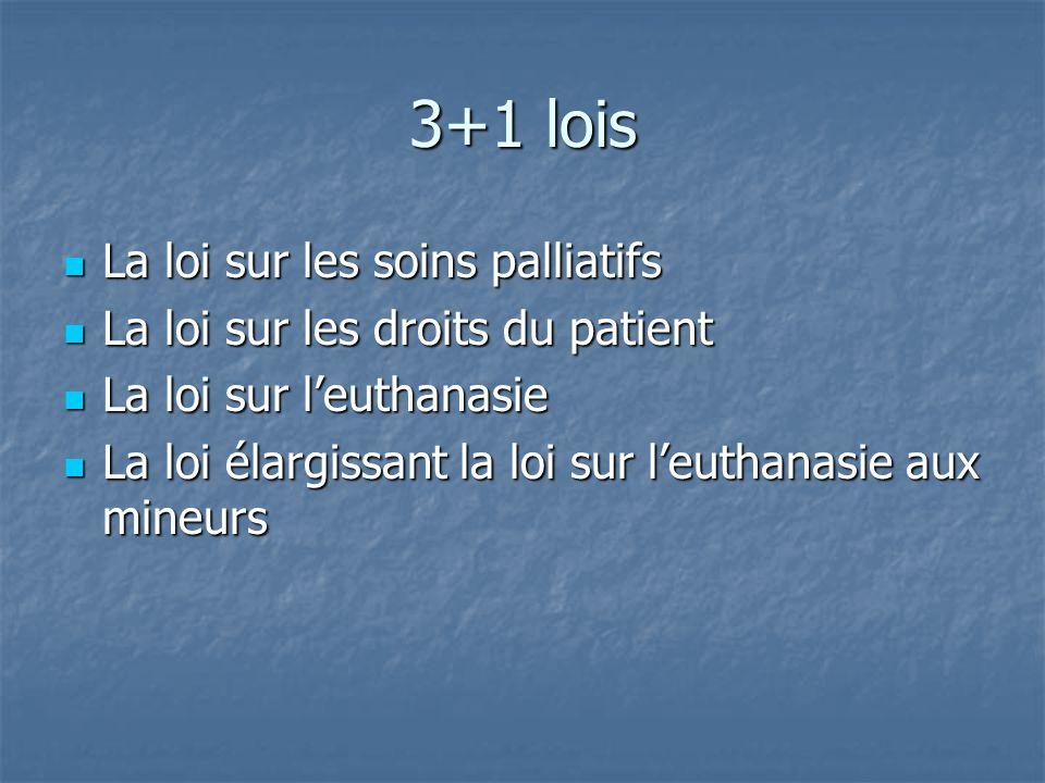 3+1 lois La loi sur les soins palliatifs La loi sur les soins palliatifs La loi sur les droits du patient La loi sur les droits du patient La loi sur