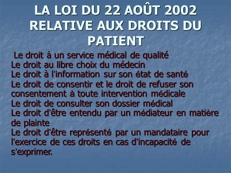 LA LOI DU 22 AOÛT 2002 RELATIVE AUX DROITS DU PATIENT Le droit à un service médical de qualité Le droit au libre choix du médecin Le droit à l ' infor