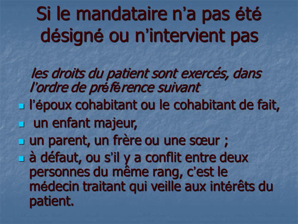 Si le mandataire n ' a pas é t é d é sign é ou n ' intervient pas les droits du patient sont exercés, dans l ' ordre de pr é f é rence suivant les dro