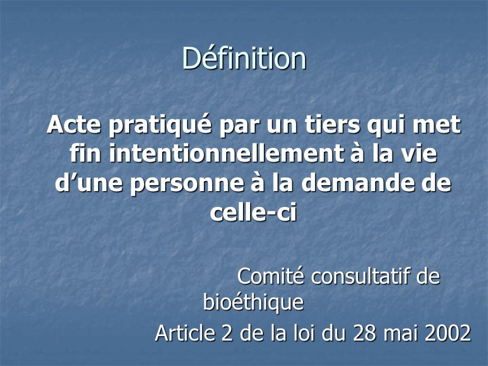 Définition Acte pratiqué par un tiers qui met fin intentionnellement à la vie d'une personne à la demande de celle-ci Acte pratiqué par un tiers qui m