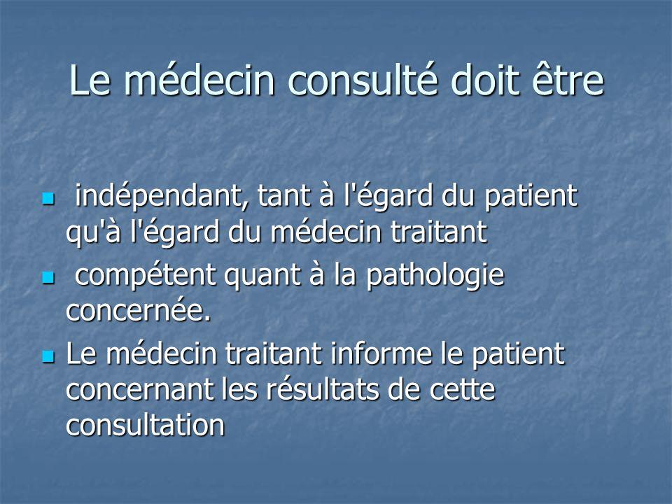 Le médecin consulté doit être indépendant, tant à l'égard du patient qu'à l'égard du médecin traitant indépendant, tant à l'égard du patient qu'à l'ég