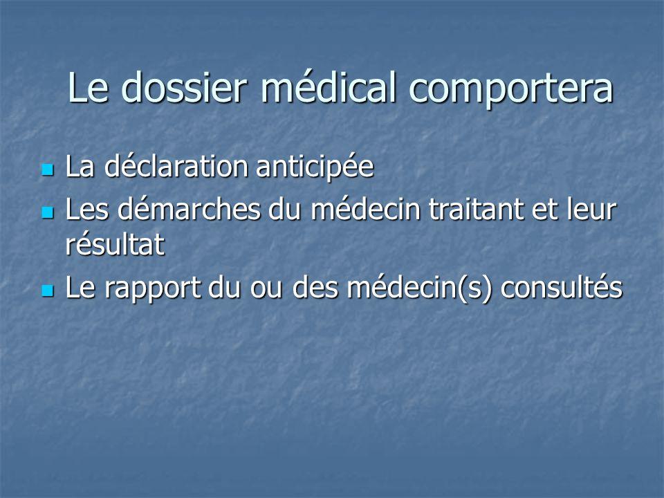 Le dossier médical comportera La déclaration anticipée La déclaration anticipée Les démarches du médecin traitant et leur résultat Les démarches du mé