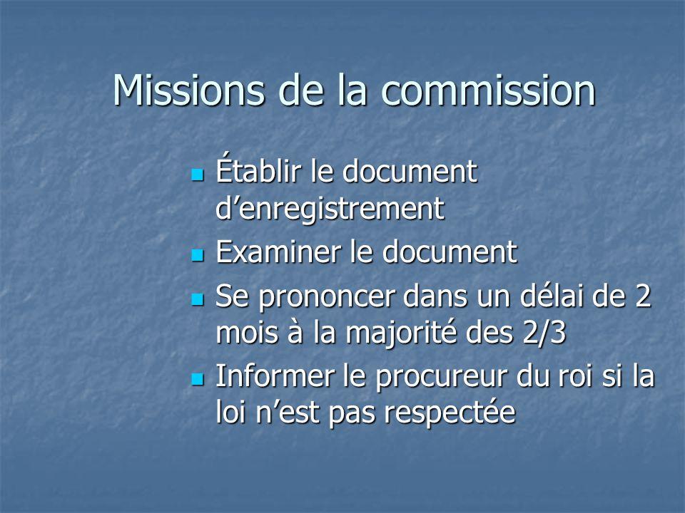 Missions de la commission Établir le document d'enregistrement Établir le document d'enregistrement Examiner le document Examiner le document Se prono