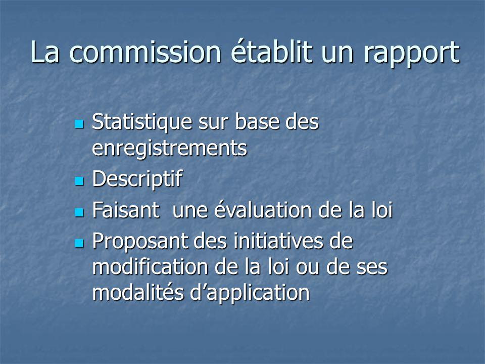 La commission établit un rapport Statistique sur base des enregistrements Statistique sur base des enregistrements Descriptif Descriptif Faisant une é