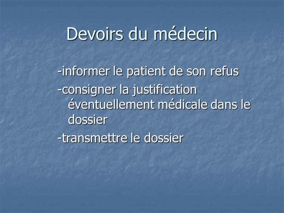 Devoirs du médecin -informer le patient de son refus -consigner la justification éventuellement médicale dans le dossier -transmettre le dossier