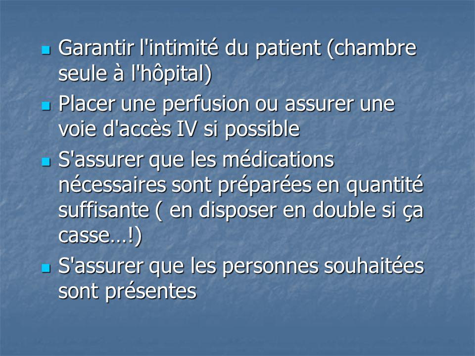 Garantir l'intimité du patient (chambre seule à l'hôpital) Garantir l'intimité du patient (chambre seule à l'hôpital) Placer une perfusion ou assurer