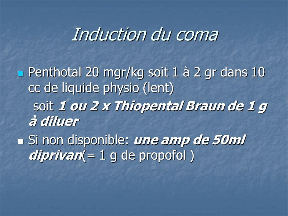 Induction du coma Penthotal 20 mgr/kg soit 1 à 2 gr dans 10 cc de liquide physio (lent) Penthotal 20 mgr/kg soit 1 à 2 gr dans 10 cc de liquide physio