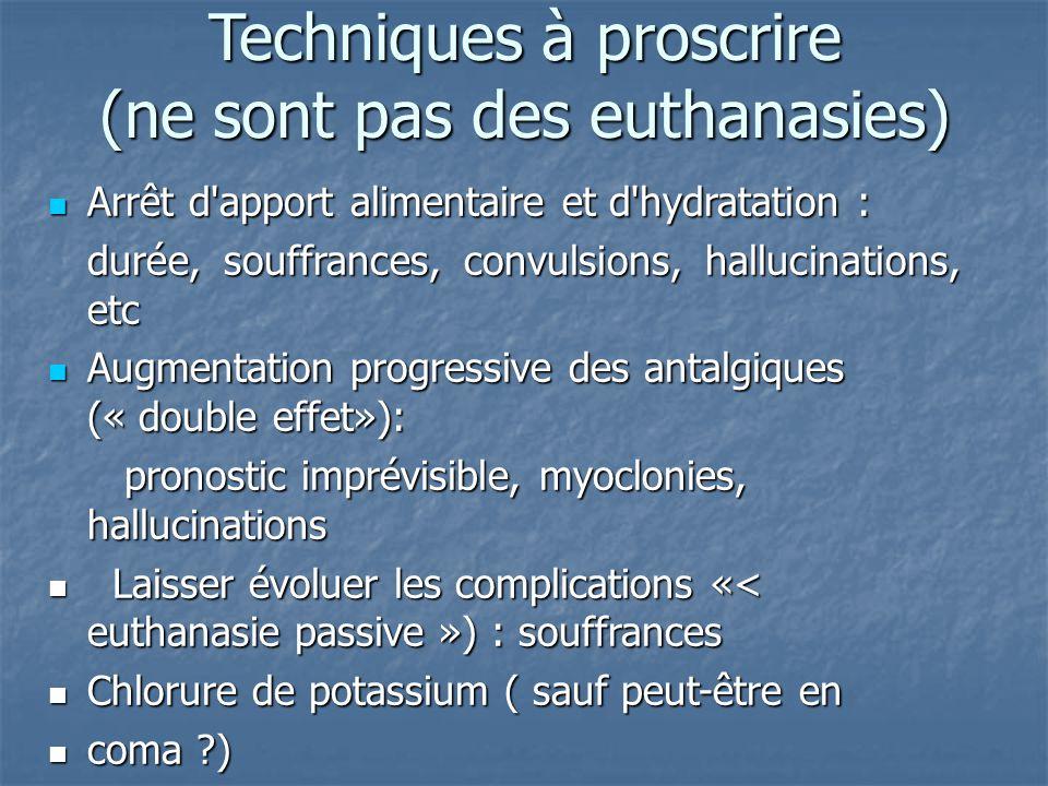 Techniques à proscrire (ne sont pas des euthanasies) Arrêt d'apport alimentaire et d'hydratation : Arrêt d'apport alimentaire et d'hydratation : durée