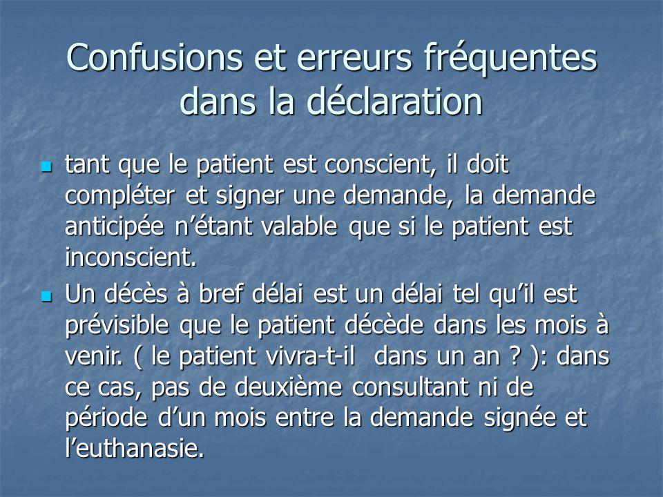 Confusions et erreurs fréquentes dans la déclaration tant que le patient est conscient, il doit compléter et signer une demande, la demande anticipée