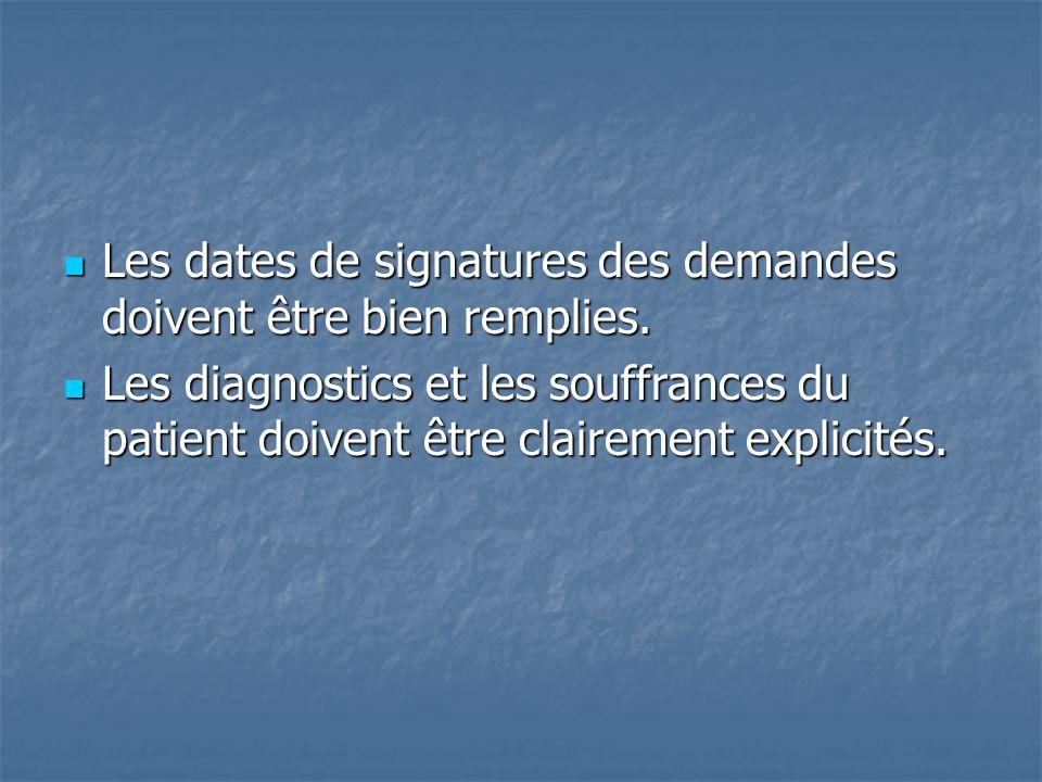 Les dates de signatures des demandes doivent être bien remplies. Les dates de signatures des demandes doivent être bien remplies. Les diagnostics et l