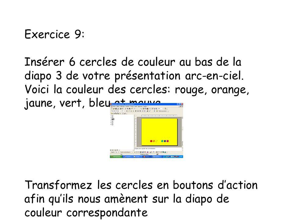 Exercice 9: Insérer 6 cercles de couleur au bas de la diapo 3 de votre présentation arc-en-ciel.