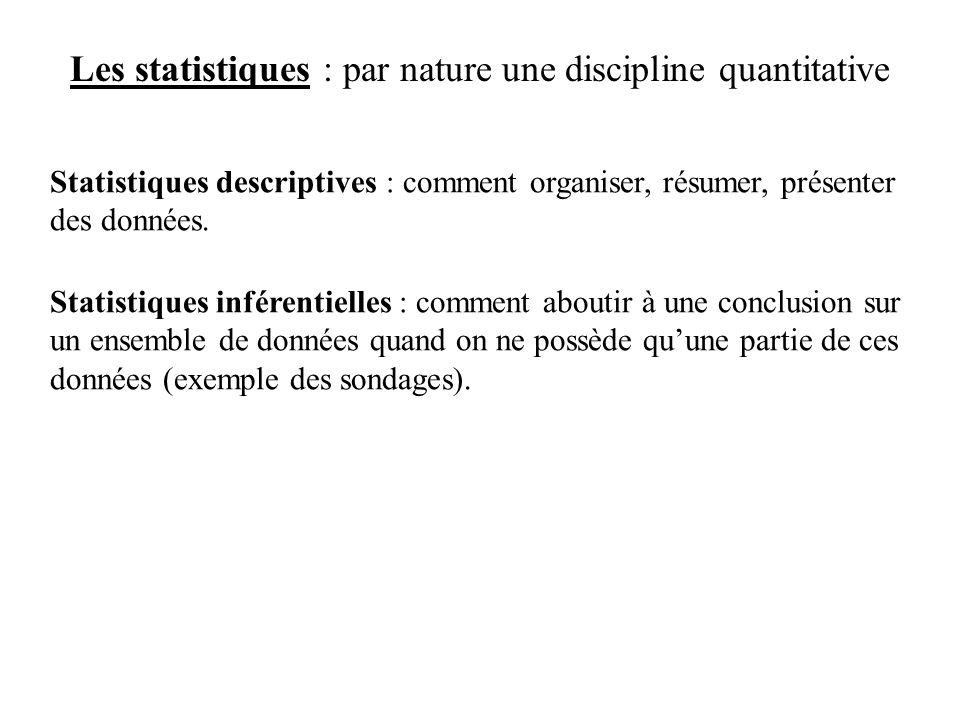 Les statistiques : par nature une discipline quantitative Statistiques descriptives : comment organiser, résumer, présenter des données.