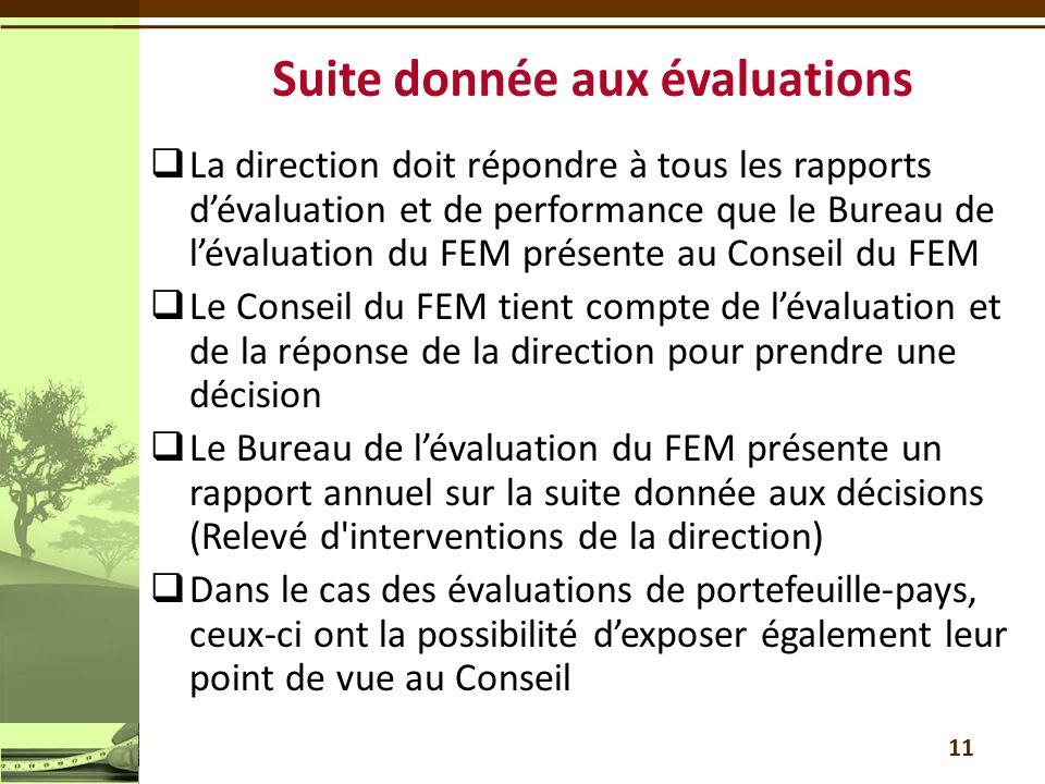  La direction doit répondre à tous les rapports d'évaluation et de performance que le Bureau de l'évaluation du FEM présente au Conseil du FEM  Le Conseil du FEM tient compte de l'évaluation et de la réponse de la direction pour prendre une décision  Le Bureau de l'évaluation du FEM présente un rapport annuel sur la suite donnée aux décisions (Relevé d interventions de la direction)  Dans le cas des évaluations de portefeuille-pays, ceux-ci ont la possibilité d'exposer également leur point de vue au Conseil 11