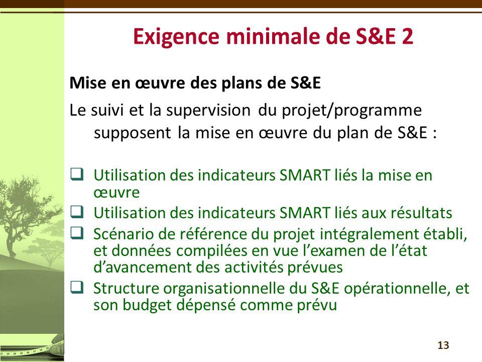 Mise en œuvre des plans de S&E Le suivi et la supervision du projet/programme supposent la mise en œuvre du plan de S&E :  Utilisation des indicateur