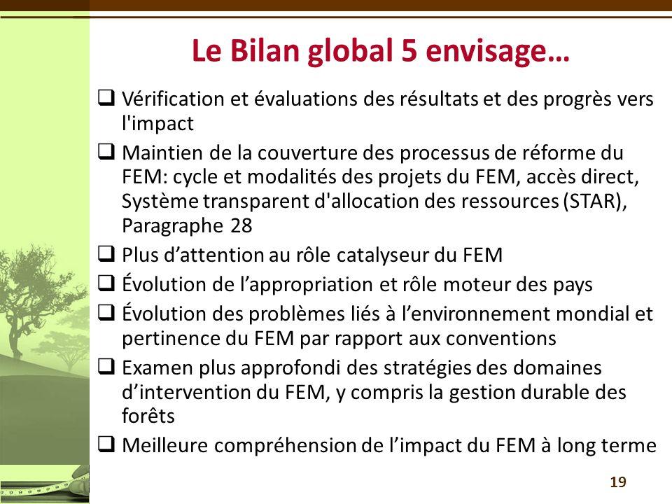  Vérification et évaluations des résultats et des progrès vers l'impact  Maintien de la couverture des processus de réforme du FEM: cycle et modalit