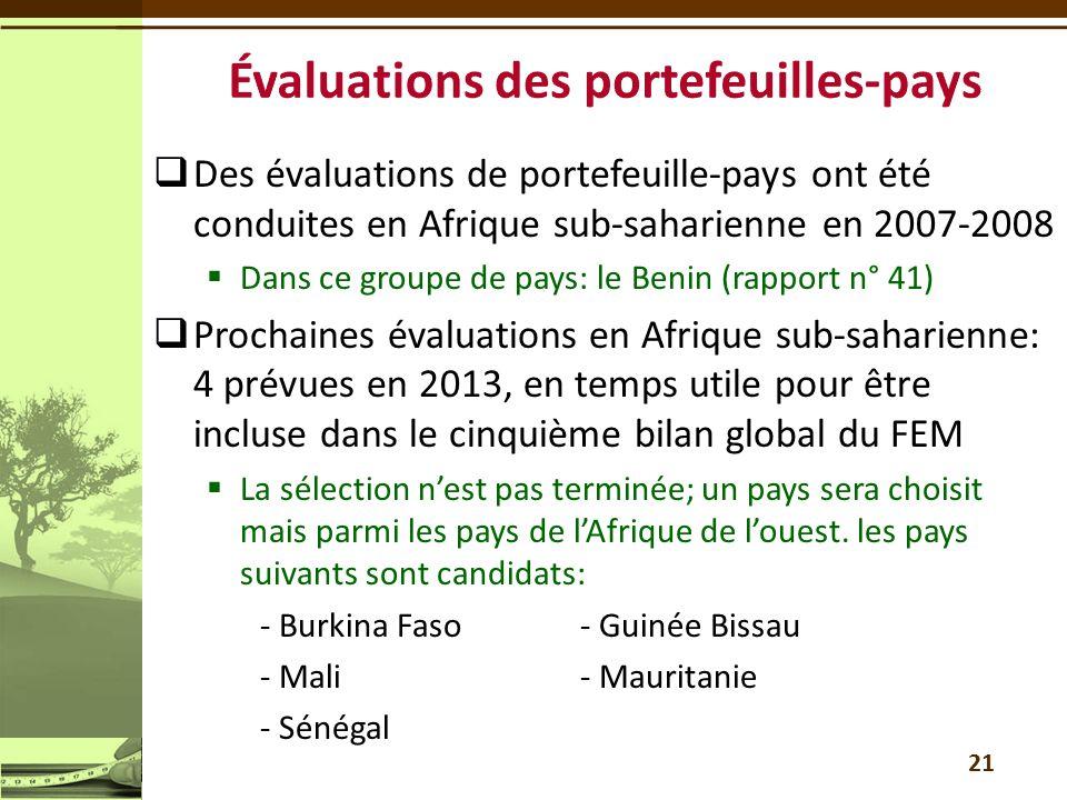  Des évaluations de portefeuille-pays ont été conduites en Afrique sub-saharienne en 2007-2008  Dans ce groupe de pays: le Benin (rapport n° 41)  P