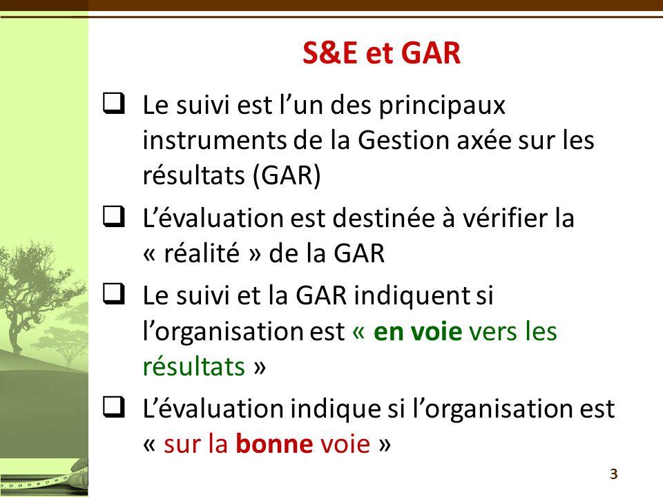 3  Le suivi est l'un des principaux instruments de la Gestion axée sur les résultats (GAR)  L'évaluation est destinée à vérifier la « réalité » de la GAR  Le suivi et la GAR indiquent si l'organisation est « en voie vers les résultats »  L'évaluation indique si l'organisation est « sur la bonne voie »