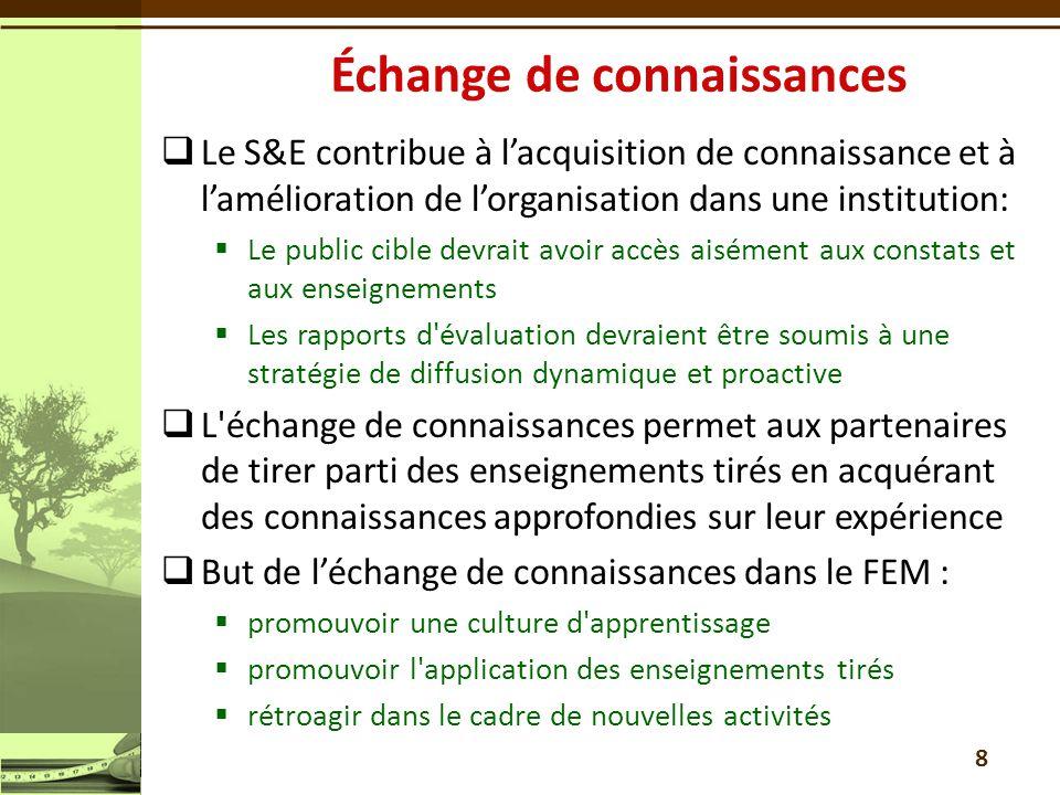  Le S&E contribue à l'acquisition de connaissance et à l'amélioration de l'organisation dans une institution:  Le public cible devrait avoir accès a