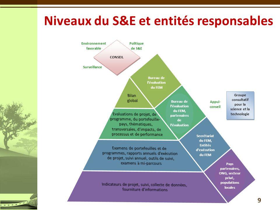 9 Niveaux du S&E et entités responsables Appui- conseil Surveillance Politique de S&E Bureau de l'évaluation du FEM, partenaires de l'évaluation CONSE
