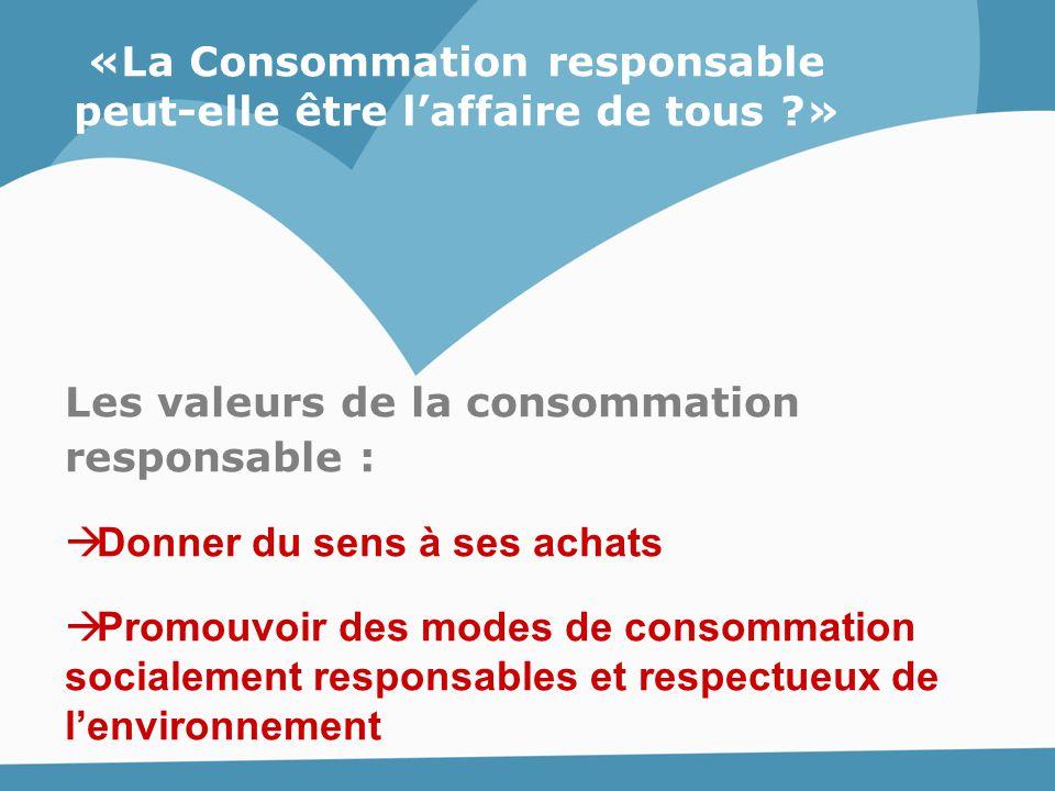 «La Consommation responsable peut-elle être l'affaire de tous ?» Les valeurs de la consommation responsable :  Donner du sens à ses achats  Promouvo