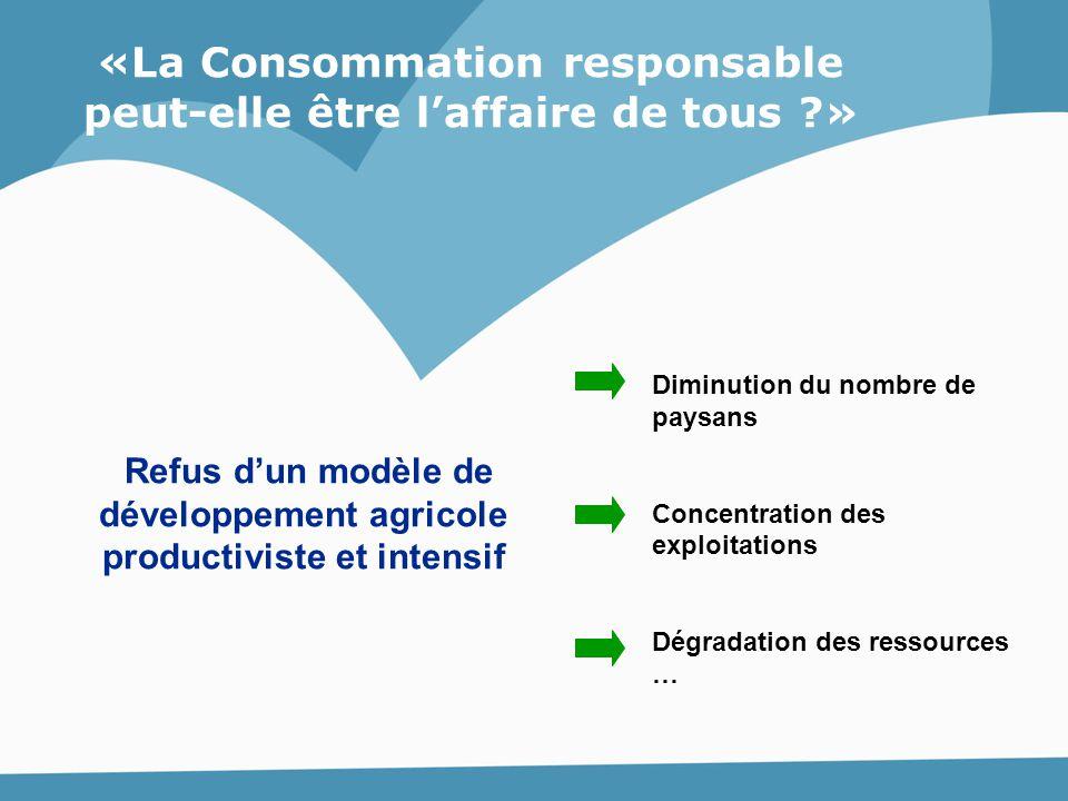 Refus d'un modèle de développement agricole productiviste et intensif Diminution du nombre de paysans Concentration des exploitations Dégradation des