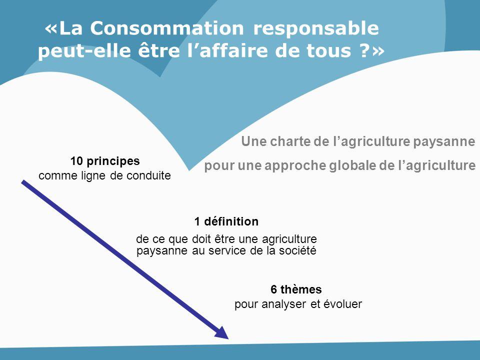 Une charte de l'agriculture paysanne pour une approche globale de l'agriculture 10 principes comme ligne de conduite 1 définition de ce que doit être