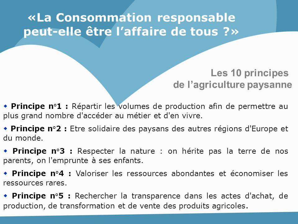 Les 10 principes  Principe n°1 : Répartir les volumes de production afin de permettre au plus grand nombre d'accéder au métier et d'en vivre.  Princ