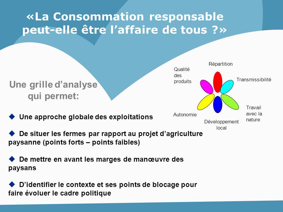  Une approche globale des exploitations  De situer les fermes par rapport au projet d'agriculture paysanne (points forts – points faibles)  De mett