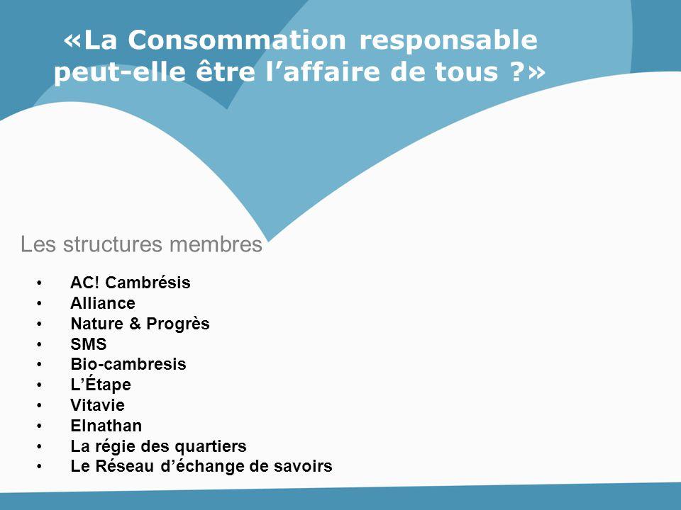 «La Consommation responsable peut-elle être l'affaire de tous ?» AC! Cambrésis Alliance Nature & Progrès SMS Bio-cambresis L'Étape Vitavie Elnathan La