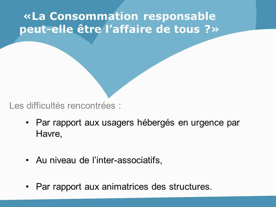 Par rapport aux usagers hébergés en urgence par Havre, Au niveau de l'inter-associatifs, Par rapport aux animatrices des structures. Les difficultés r