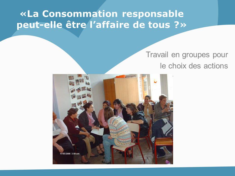 Travail en groupes pour le choix des actions «La Consommation responsable peut-elle être l'affaire de tous ?»