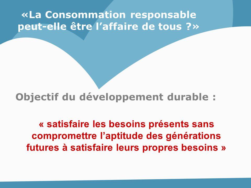 «La Consommation responsable peut-elle être l'affaire de tous ?» Objectif du développement durable : « satisfaire les besoins présents sans compromett
