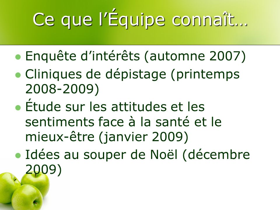 Ce que l'Équipe connaît… Enquête d'intérêts (automne 2007) Cliniques de dépistage (printemps 2008-2009) Étude sur les attitudes et les sentiments face