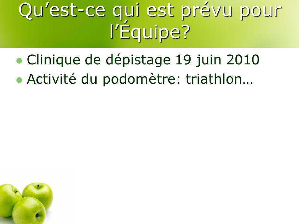 Qu'est-ce qui est prévu pour l'Équipe? Clinique de dépistage 19 juin 2010 Activité du podomètre: triathlon…