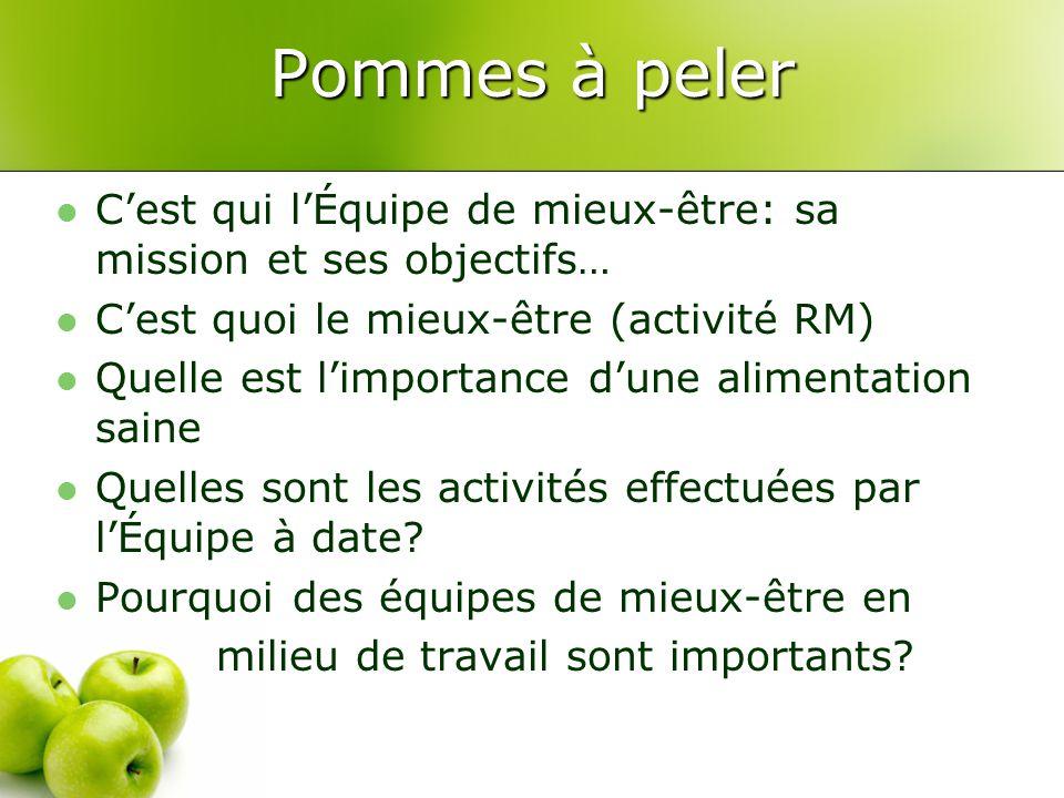 Pommes à peler C'est qui l'Équipe de mieux-être: sa mission et ses objectifs… C'est quoi le mieux-être (activité RM) Quelle est l'importance d'une alimentation saine Quelles sont les activités effectuées par l'Équipe à date.