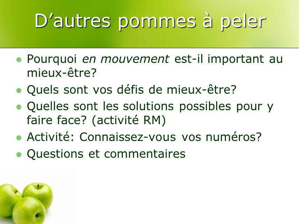 D'autres pommes à peler Pourquoi en mouvement est-il important au mieux-être? Quels sont vos défis de mieux-être? Quelles sont les solutions possibles