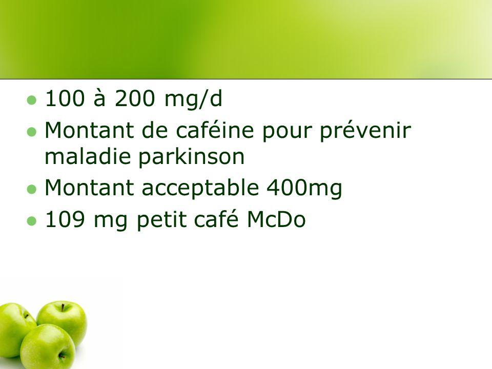 100 à 200 mg/d Montant de caféine pour prévenir maladie parkinson Montant acceptable 400mg 109 mg petit café McDo
