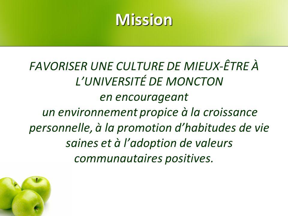 Mission FAVORISER UNE CULTURE DE MIEUX-ÊTRE À L'UNIVERSITÉ DE MONCTON en encourageant un environnement propice à la croissance personnelle, à la promotion d'habitudes de vie saines et à l'adoption de valeurs communautaires positives.