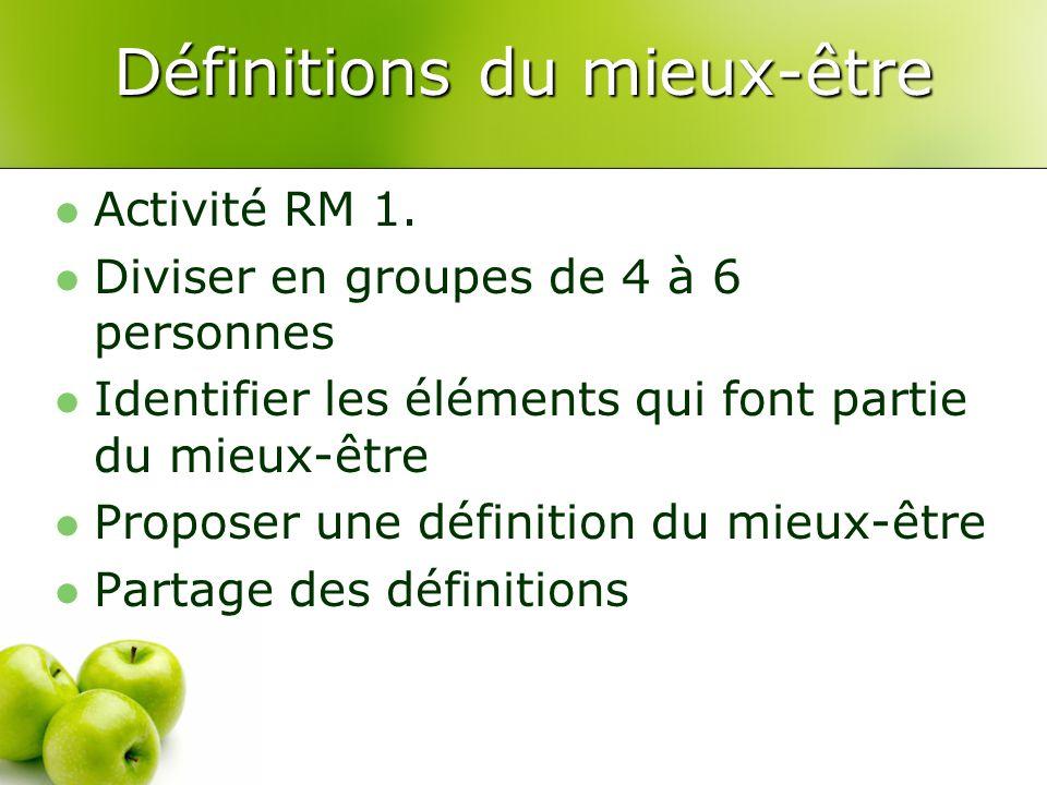 Définitions du mieux-être Activité RM 1. Diviser en groupes de 4 à 6 personnes Identifier les éléments qui font partie du mieux-être Proposer une défi