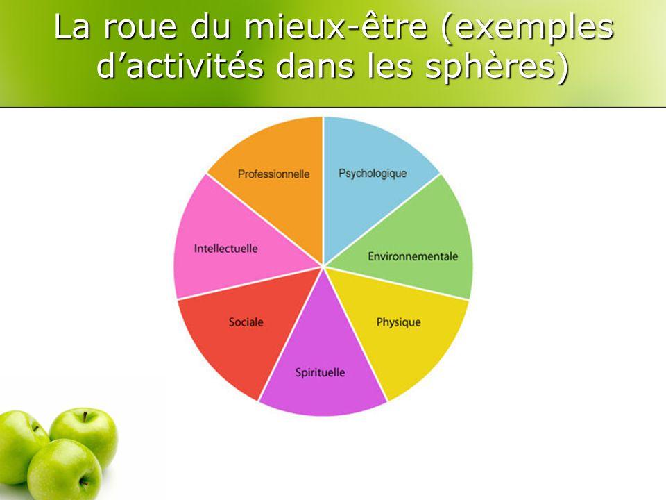 La roue du mieux-être (exemples d'activités dans les sphères)