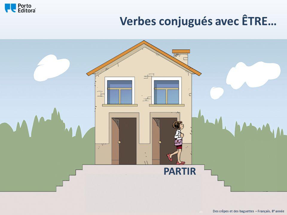 Des crêpes et des baguettes – Français, 8 e année Verbes conjugués avec ÊTRE… PARTIR